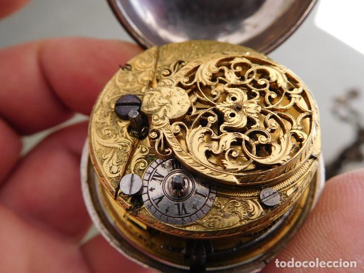 Relojes de bolsillo: Reloj de bolsillo catalino ingles Jones John con chichonera repujada plata año 1780 aprox. - Foto 49 - 247978135