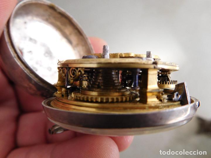 Relojes de bolsillo: Reloj de bolsillo catalino ingles Jones John con chichonera repujada plata año 1780 aprox. - Foto 54 - 247978135