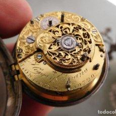 Relojes de bolsillo: RELOJ DE BOLSILLO CATALINO CON ALARMA HIGGS Y DIEGO EVANS PLATA AÑO 1780 APROX.. Lote 247982375