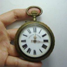 Relojes de bolsillo: RELOJ DE BOLSILLO ANTIGUO. ROSKOPF. ESFERA ESMALTADA Y AGUJAS DE ORO. TRASERA EN HIERRO. (59 MM). Lote 248266735