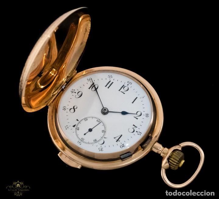 Relojes de bolsillo: Antiguo reloj de bolsillo suizo, de oro 18k, con repetición de minutos. - Foto 3 - 249035715