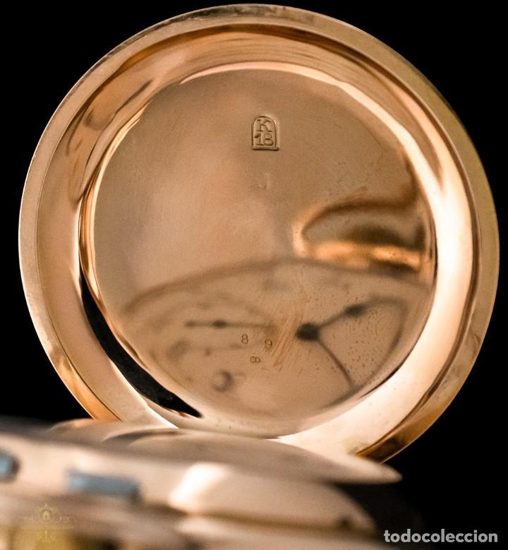 Relojes de bolsillo: Antiguo reloj de bolsillo suizo, de oro 18k, con repetición de minutos. - Foto 6 - 249035715