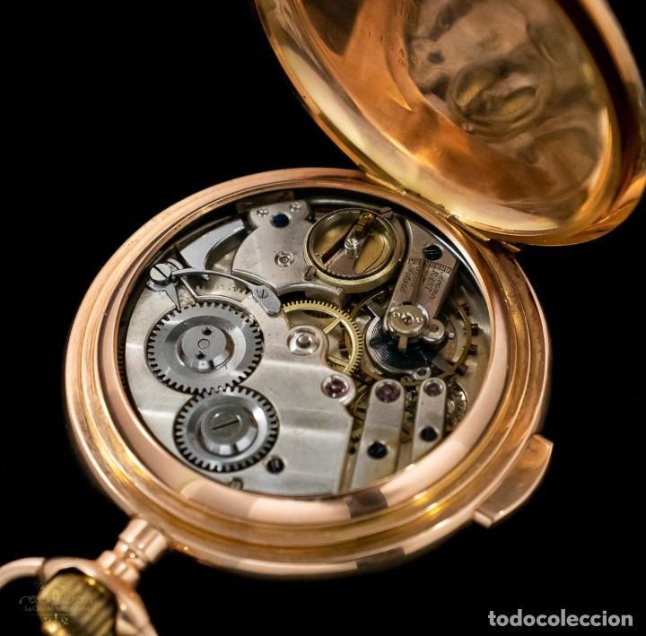 Relojes de bolsillo: Antiguo reloj de bolsillo suizo, de oro 18k, con repetición de minutos. - Foto 9 - 249035715