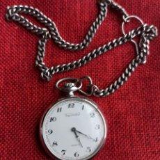 Relojes de bolsillo: THERMIDOR - INCABLOC - CARGA MANUAL - FUNCIONA - 45 MM DE CAJA - CON CADENA INCLUIDA. Lote 249203160