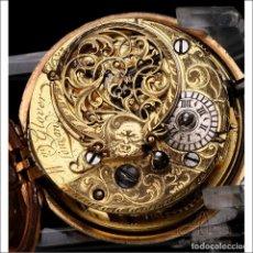 Relojes de bolsillo: ANTIGUO RELOJ DE BOLSILLO CATALINO PATINADO WILLIAM GLOVER DE DOBLE CAJA. LONDRES, CIRCA 1750. Lote 250210960