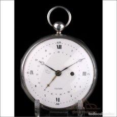Relojes de bolsillo: ANTIGUO RELOJ DE BOLSILLO VAUCHEZ DE PLATA EXTRAPLANO. CALENDARIO. FRANCIA, 1800-1810. Lote 250211520