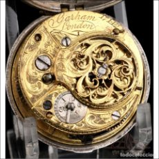 Relojes de bolsillo: ANTIGUO RELOJ CATALINO DE BOLSILLO DE PLATA MACIZA Y DOBLE CAJA. LONDRES, 1769. Lote 250212090
