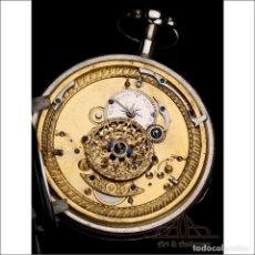 Relojes de bolsillo: ANTIGUO RELOJ DE BOLSILLO DE PLATA CON SONERÍA DE CUARTOS. FRANCIA, 1820. Lote 250213310