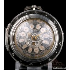Relojes de bolsillo: ANTIGUO RELOJ CATALINO TARTS DE PLATA CON TRIPLE CAJA Y CALENDARIO. LONDRES, CIRCA 1779. Lote 250214850