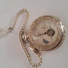 Relojes de bolsillo: PARA COLECION RELOJ DE BOLSILLO COM LUPA CARGA MANUAL DIBURROS EN RELIEVO FONCIONA PERFECTAMENTE. Lote 251389085