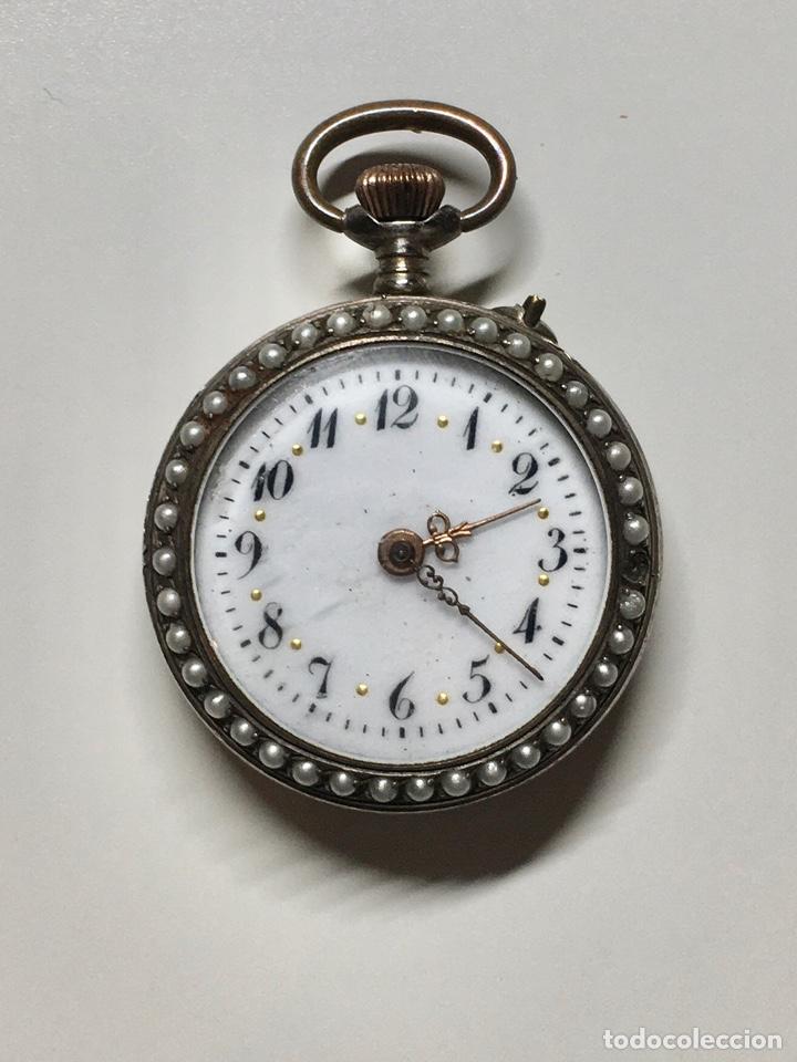 Relojes de bolsillo: Reloj antiguo de bolsillo plata 800 sello - Trasera con esmalte e incrustaciones, bordeado en perlas - Foto 2 - 252930175