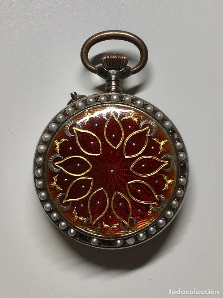 Relojes de bolsillo: Reloj antiguo de bolsillo plata 800 sello - Trasera con esmalte e incrustaciones, bordeado en perlas - Foto 3 - 252930175