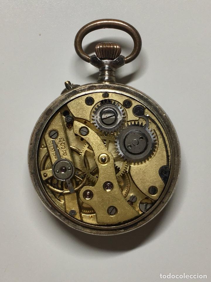 Relojes de bolsillo: Reloj antiguo de bolsillo plata 800 sello - Trasera con esmalte e incrustaciones, bordeado en perlas - Foto 4 - 252930175