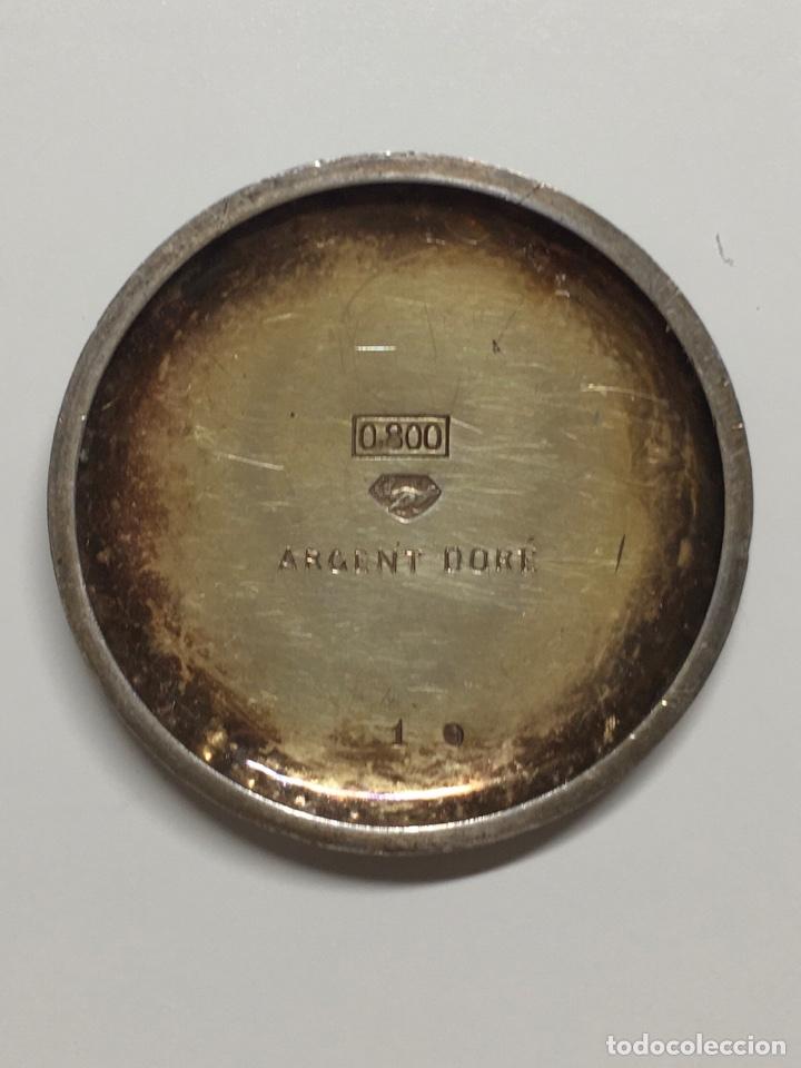 Relojes de bolsillo: Reloj antiguo de bolsillo plata 800 sello - Trasera con esmalte e incrustaciones, bordeado en perlas - Foto 5 - 252930175