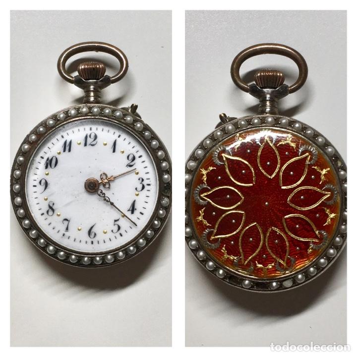 RELOJ ANTIGUO DE BOLSILLO PLATA 800 SELLO - TRASERA CON ESMALTE E INCRUSTACIONES, BORDEADO EN PERLAS (Relojes - Bolsillo Carga Manual)