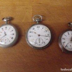 Montres de poche: 3 RELOJES ANTIGUOS DE BOLSILLO- AÑO 1890-1920-EN ARGENTAN-LOTE 259-17. Lote 252952970