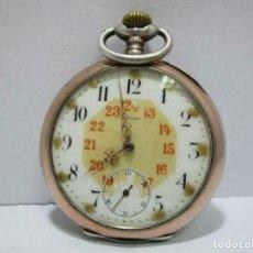 Relojes de bolsillo: ANTIGUO Y MAGNIFICO RELOJ BOLSILLO OMEGA EN PLATA DE LEY CON BORDE EN ORO Ø APROX. 49 MM). Lote 253350805