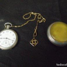 Relojes de bolsillo: ANTIGUO RELOJ BOLSILLO EN PLATA-CON LEONTINA-ART-DECO Y GUARDAPOLVOS-AÑO 1910-LOTE 259-19-FUNCIONA. Lote 253516790