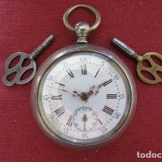 Relojes de bolsillo: ANTIGUO RELOJ FRANCÉS SUIZO DE BOLSILLO MECÁNICO DE CUERDA CON DOS LLAVES AÑO 1850 / 1890 Y FUNCIONA. Lote 253533280