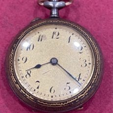 Relojes de bolsillo: ANTIGUO RELOJ DE BOLSILLO, DE SEÑORA, CON CAJA DAMASQUINADA. Lote 253813135