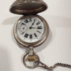 Relojes de bolsillo: RELOJ DE BOLSILLO PLATA REPUJADA S XIX REMONTOIR 3 TAPAS FUNCIONANDO LEONTINA DE PLATA. Lote 254220355