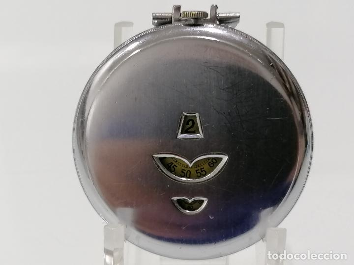 RELOJ DE BOLSILLO ACERO DIGITAL CON SEGUNDERO, ART DECCO, DIAMETRO 48 MM, FUNCIONA, NO TIENE MARCA (Relojes - Bolsillo Carga Manual)