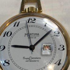 Relojes de bolsillo: RELOJ DE BOLSILLO MORTIMA . MADE IN FRANCE -SÚPER 28 - CAJA DORADA DE 4,2 CM DE DIÁMETRO.. Lote 254480860