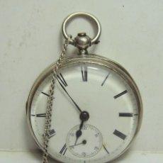 Relojes de bolsillo: RELOJ DE BOLSILLO INGLES. CARGA CON LLAVE. PLATA CON CONTRASTES. ESFERA ESMALTADA. CON SEGUNDERO.. Lote 254504805