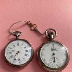 Relojes de bolsillo: LOTE DE ANTIGUOS RELOJES CRONOMETRÓ 1890-1900 Y CILÍNDRE HUIR RUBÍS.. Lote 255509750
