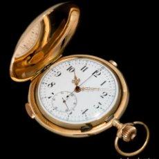 Relojes de bolsillo: MAGNIFICO RELOJ DE ORO 18K GRAN COMPLICACIÓN CON SONERÍA REPETICIÓN A CUARTOS, ORIGEN SUIZA. Lote 255601240
