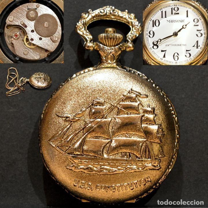 RELOJ DE BOLSILLO MARSONIC CARGA MANUAL Y AUTOMATICO 17 RUBIS CON LEONTINA (Relojes - Bolsillo Carga Manual)