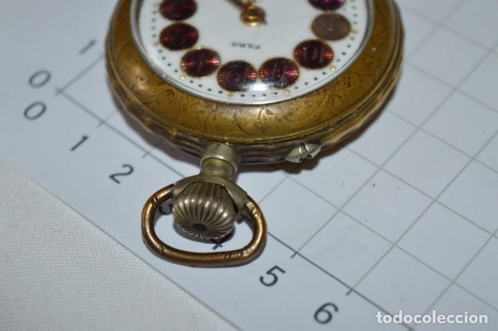 Relojes de bolsillo: Vintage / FARO / Caja de 47,40 mm / Esfera de porcelana/esmalte / Carga manual ¡Mira funciona! - Foto 9 - 256159455