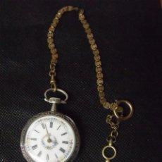 Relojes de bolsillo: ANTIGUO RELOJ BOLSILLO EN PLATA AÑO 1880 - FUNCIONA-CON LEONTINA Y LLAVE-LOTE 259-25. Lote 259852275