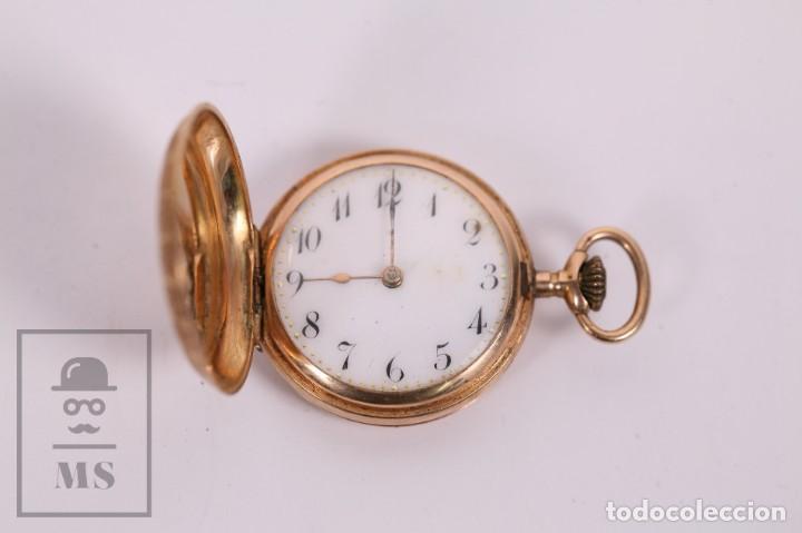 ANTIGUO RELOJ DE BOLSILLO DE MUJER ORO 18K - 3 TAPAS PATENTE 4 MEDALLAS 1896 GENÉVE - RESTAURACIÓN (Relojes - Bolsillo Carga Manual)
