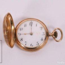 Relojes de bolsillo: ANTIGUO RELOJ DE BOLSILLO DE MUJER ORO 18K - 3 TAPAS PATENTE 4 MEDALLAS 1896 GENÉVE - RESTAURACIÓN. Lote 261537755