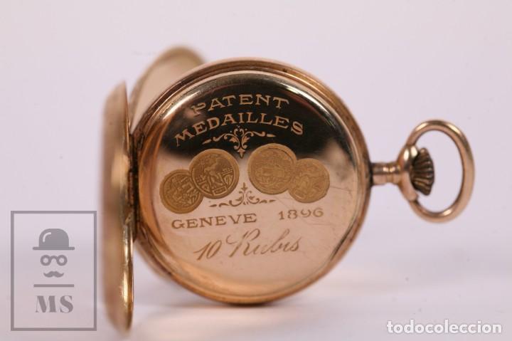Relojes de bolsillo: Antiguo Reloj de Bolsillo de Mujer Oro 18k - 3 Tapas Patente 4 Medallas 1896 Genéve - Restauración - Foto 5 - 261537755