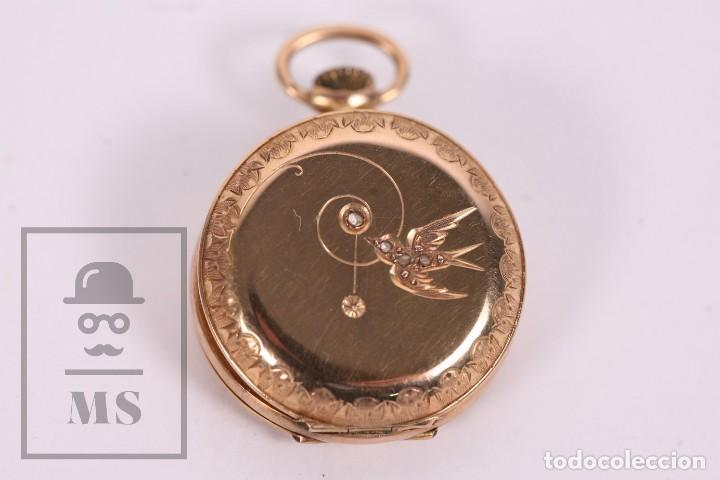 Relojes de bolsillo: Antiguo Reloj de Bolsillo de Mujer Oro 18k - 3 Tapas Patente 4 Medallas 1896 Genéve - Restauración - Foto 7 - 261537755