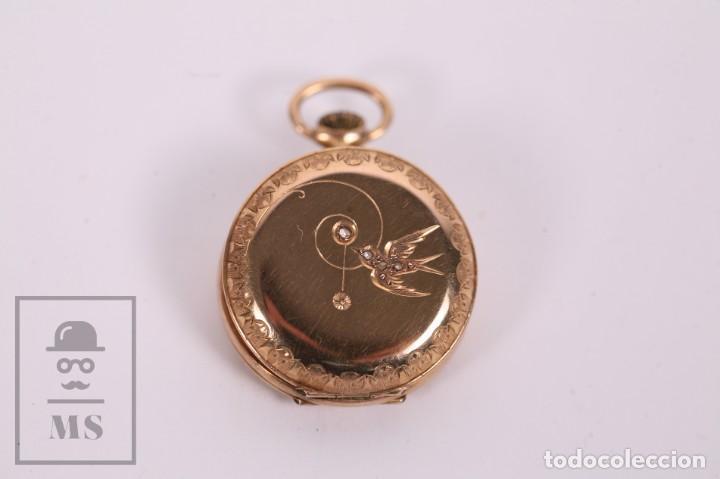 Relojes de bolsillo: Antiguo Reloj de Bolsillo de Mujer Oro 18k - 3 Tapas Patente 4 Medallas 1896 Genéve - Restauración - Foto 8 - 261537755