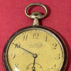 Relojes de bolsillo: ANTIGUO RELOJ DE BOLSILLO DE PLATA, DE LA DIADEMA, EN PUERTA FERRISA. BARCELONA. Lote 261794585