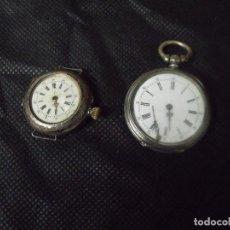Relojes de bolsillo: 2 RELOJES BOLSILLO EN PLATA-AÑO 1890-PARA RESTAURAR O PIEZAS-LOTE 259-26. Lote 262761560