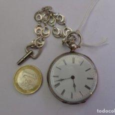 Relojes de bolsillo: MUY ANTIGUO FINALES 1800 BONITO RELOJ BOLSILLO PLATA MACIZA TODO, BUEN ESTADO, COMPLETO FUNCIONANDO. Lote 263135180