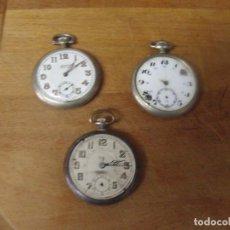 Relojes de bolsillo: ¡¡GRAN OFERTA!! 3 RELOJES BOLSILLO ANTIGUOS -GRAN TAMAÑO- PARA RESTAURAR O PIEZAS-LOTE 259-27. Lote 263728045