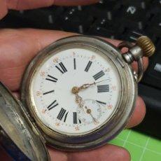 Relojes de bolsillo: RELOJ DE BOLSILLO DE PLATA .CUERDA ROTA .45 MM. Lote 265996168