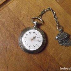 Relógios de bolso: PRECIOSO RELOJ BOLSILLO DE PLATA FINA CON LEONTINA ART-DECO DE PLATA- AÑO 1880-LOTE 259-30-FUNCIONA. Lote 267677624