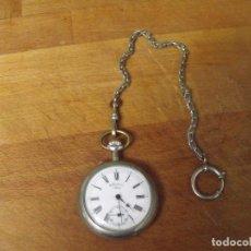 Relojes de bolsillo: ANTIGUO RELOJ BOLSILLO EN ARGENTAN-LEONTINA EPOCA-AÑO 1890/00-LOTE 259-30 -FUNCIONA. Lote 267678934