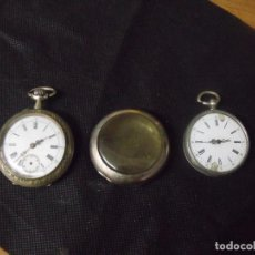 Relojes de bolsillo: 2 RELOJES DE BOLSILLO ANTIGUOS-1 PLATA-1 ARGENTAN-1 GUARDAPOLVOS EN CHAPA-LOTE 259-30. Lote 267789664