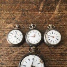 Relojes de bolsillo: 4 RELOJES DE BOLSILLO- 3 EN PLATA- PARA RESTAURAR O PIEZAS- LOTE 259-30. Lote 267791864