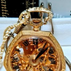 Relojes de bolsillo: BELAIR WACHT COMPANI SWIS MADE - SKELETON DE BOLSILLO MECÁNICO CALIBRE 2 CARAS + CAJA ....... Lote 269173548