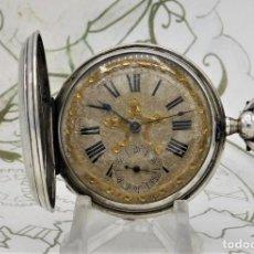 Relojes de bolsillo: ISABELINO-SABONETA-DE PLATA-PRECIOSO RELOJ BOLSILLO-CIRCA 1870-1900-FUNCIONANDO. Lote 269817198