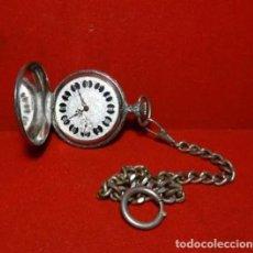 Relojes de bolsillo: FUNCIONA.- RELOJ JUPEX SABONETA , CAZA CON CADENA Y TAPA CON ESCENA DE CAZADOR.. Lote 270882918
